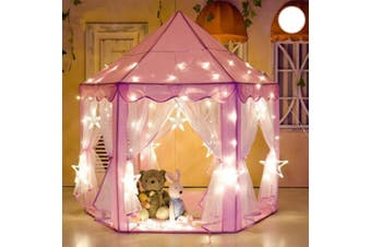 Children Kids Play Tent House Portable Princess Castle with Mesh Net Princess Girls Boys 138 LED Star Curtain String Lights (TYPE B)