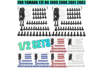 158pcs Motorcycle Kit Fairing Bolts Fastener Clips Screw FIT For Yamaha YZF R6 1999-2002(black,1 set)