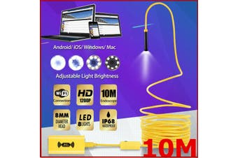 IP68 Waterproof 8LED 10m/5m High Compatible Wifi Endoscope Borescope Inspection 1200P Snake Tube Camera(yellow,10 m)