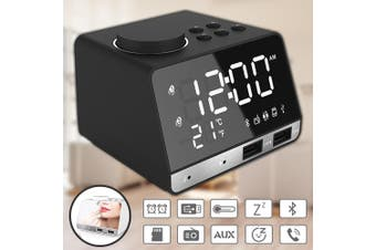 USB Wireless Bluetooth Bass Speaker FM Radio LED Display Dual Alarm Mirror Clock(black)
