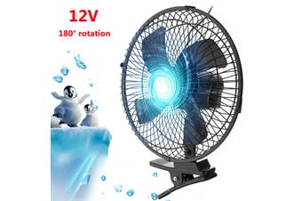 10 Inch 12/24V 180 Degree Rotation Car Van Clip On Cooling Oscillating Fan 2 Speed Strong Air Cooler For Boat Truck Caravan