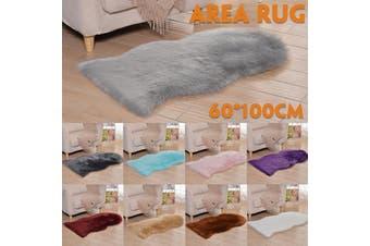 60x100cm Faux Fur Fluffy Shaggy Rug Washable Non-Skid Furry Carpet Floor Mat for Bedroom(Light Blue)