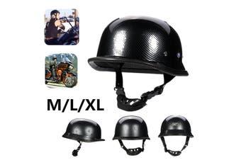 DOT Motorcycle Gloss Black German Half Face Helmet Chopper Cruiser Biker M/L/XL