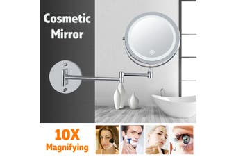 7 inch 10X Magnifying Led 360° Mirror Adjustable Brightness Makeup Cosmetic Mirror Folding Wall Mount Makeup Mirror with Led Light(7 Inch 10X Magnifying)
