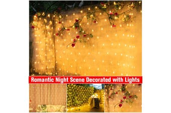 White / Warm White Christmas Wedding Xmas Party Outdoor Fairy String LED Light Mesh Net 3*3m (warmwhite,9.85ft by 9.85ft)