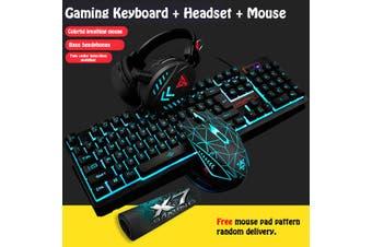Wired LED Backlit Multimedia Ergonomic USb Gaming Keyboard Mouse Combo Illuminated 1600DPI Optical Gamer Sets(Keyboard+Headset+Mouse+Mouse Pad)(blue,ice blue backlit)