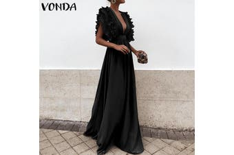 VONDA Women Deep V Neck Party Formal Evening Dresses Sleeveless Ruffle Long Maxi Dress(black,L)