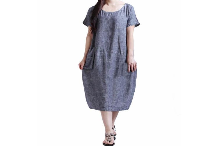 Dick Smith Zanzea Women Oversized Short Sleeve Casual Baggy Long Shirt Dress Kaftan Blue Xl Dresses