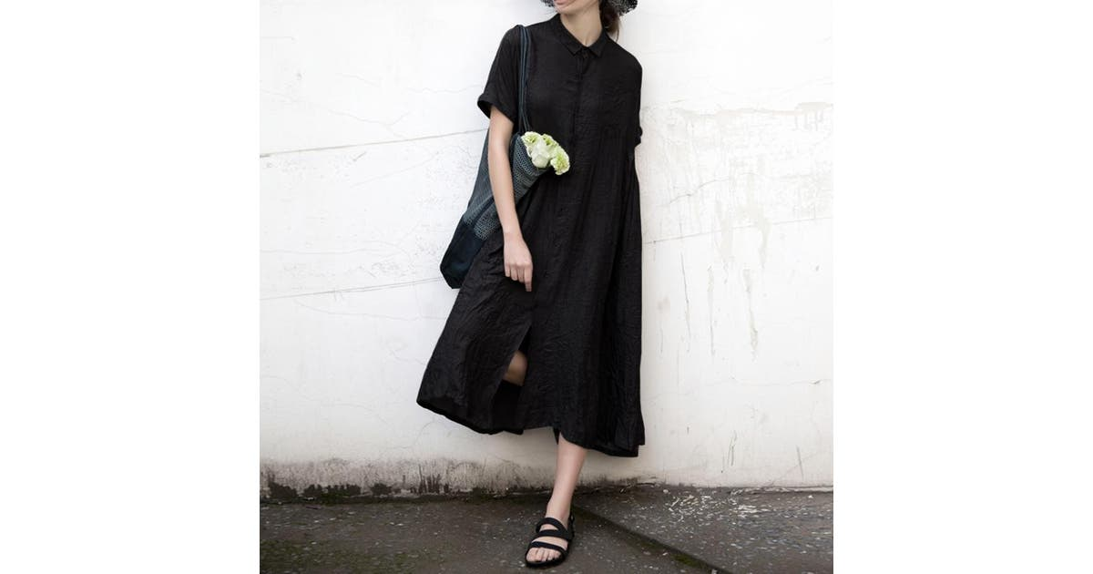 Dick Smith Womens Summer Short Sleeve Maxi Dress Pleated Solid Casual Loose Long Shirt Dress Plus Size Tunic Black L Dresses