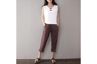 Ladies Autumn Fashion Long Pants Casual Loose Cotton sportwear Cotton Linen Trousers S-5XL(coffee,4XL)