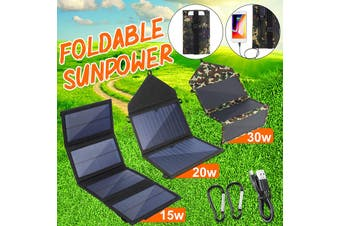 15W 20W 30W Foldable Portable Solar Panel Dual USB Dual-Port Rechargeable Charger Charging Board Camping Phone Tablet Hand Sunpower Outdoor Hiking (black,20W)