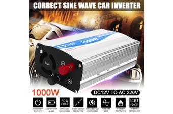 1000W Pure Sine Wave DC 12V to AC 220V Car Power Inverter Transmitter Charger(white,Type A)