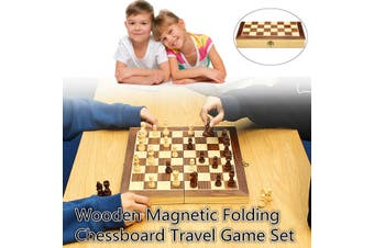 Chess Magnetic Folding Wooden Chessboard Board Games Gift Large Chess Set