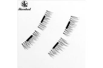 4 Pcs/2 Pairs Magnetic False Eyelashes Natural Soft Makeup Handmade Long Lashes(black,4Pcs)