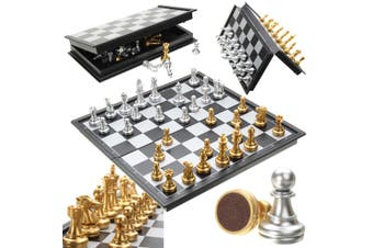 Magnetic Chess Game Silver Gold Pieces Chess Folding Magnetic Foldable Board(1(Black/25cm))