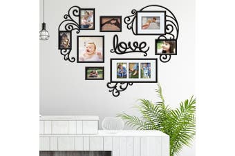 DIY 3D Heart Love Photo Frame Acrylic kit Wall Collage Picture Art Home Decor Love Photo Picture Frame Set Collage Satin Black Gallery Wall Decor Gift #95*73cm(Small)