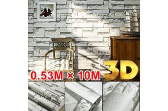 3D Wallpaper Bedroom Mural Modern Stone Brick Wall Paper Background Textured 10M(lightgrey,SelfAdhesive)