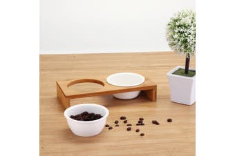 Elevated Dog and Cat Bamboo Pet Feeder Ceramic Bowl Raised Stand 3Sizes Durable【2pcs】(Double Bowls)