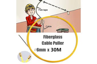 Wire Cable Fiberglass Fish Tape Reel Conduit Ducting Rodder 6mm # 30M(30m 6mm)