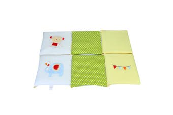 Fashion 6Pcs/Set Cute Pattern Baby Infant Cot Crib Bumper Cushion Pillow Safety Protector Toddler Nursery Bedding Set(green,Monkey)