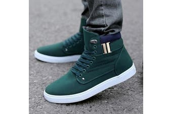 Fashion Men's Oxfords Casual High Top Shoes Leather Shoes Canvas Sneakers New(green,US8/EU41)