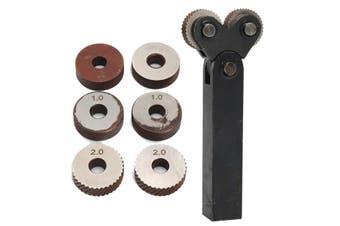 7pcs Knurling Knurler Tool Diagonal Wheel Linear Knurl Set 0.5mm 1mm 2mm Pitch(Two head Knurling)