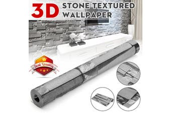 10mx0.53m -- Waterproof DIY Brick Pattern Textured Non-woven Wall Sticker TV Background Paper Decor Art Wallpaper Home Decal Gifts(grey,SelfAdhesive)
