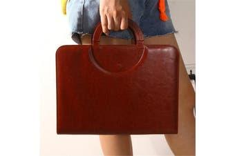 Men A4 Ring Binder Conference Folder & Document Bag Business Briefcase Handbag#brown(brown)