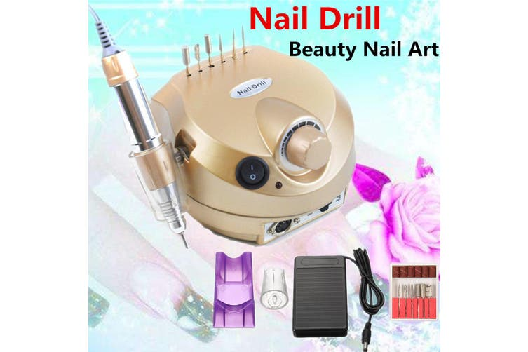 30000RPM 110V Pro Manicure Tool Pedicure Electric Drill File Nail Art Machine Kit Set(gold,US Plug 110V)