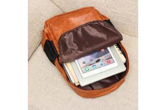 New Casual Fashion Men Women PU Leather Backpack School Bookbag Laptop Shoulder Bags(brown)