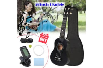 【Free Shipping + Flash Deal】21'' Black Soprano Ukulele Hawaii Guitar Uke 12 Fret With Tuner Carrying Bag(black,Ukulele with Accessories)