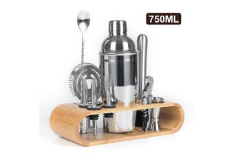 12pcs Stainless Steel Cocktail Making Tools Kit Wooden Stand Cocktail Shaker Set Bartender Kit 550ML/750ML (750ML Type3)