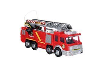 Electric Fire Truck Water Jet Spray Engine Toy Car Music Led Light Edu Toys Gift(with Ladder)
