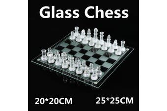 20*20 / 25*25CM High-end Elegant K9 Checker Glass Chess Game Set Home Decoration #25*25CM