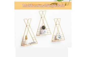 【Free Shipping】Creative European Home Living Room Gold Wrought Iron Rack Wall Hanging Storage Simple Fashion Wall Wall Decoration For Kitchen Storage/ Bedroom Storage/ Bathroom Storage(gold)