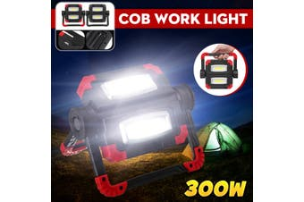 300W 3000LM LED COB Work Light USB Rechargeable/Battery Lantern Floodlight Emergency Foldable Rotation Pure White Outdoor Camping Lamp(grey,USB Charge)