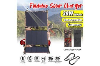 30W Waterproof Folding Solar Panel Power Bank Outdoor Camping Hiking USB Battery Charger(multicolor,30W)