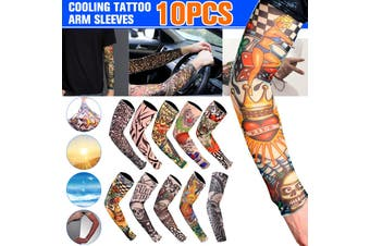 10Pcs Cooling Tattoo Arm Sleeve UV Sun Protection Basketball Golf Outdoor Sport Arm Sleeve for Men(10pcs)