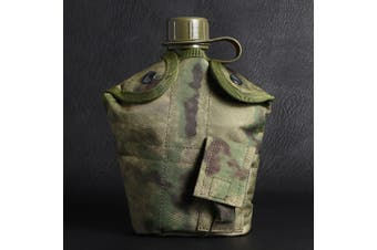 Army Style Military Patrol Water Bottle , Mug & Pouch Canteen Set Camping Hiking(Ruin green)