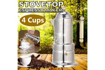 4 Cups Moka Espresso Italian Coffee Maker Percolator Pot Stainless Steel Household Office