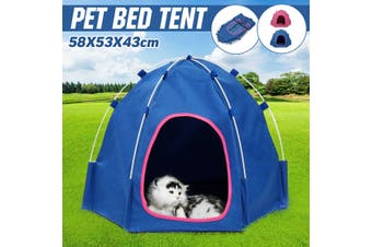Foldable Pet Cat Dog Tent Outdoor House Kennel Bed Puppy Cage Carrier Camping-Blue(blue,Blue)