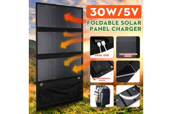 30W 5V Foldable Solar Power Panel Fast Charger Bank Dual USB Waterproof Portable(90W)