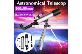 18X - 90X(Four Gear Be Set)Portable Refractive Monocular Astronomical Telescope Space Spotting + Telescope Tripod(F360 x 50mm)(90X Max)