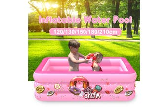 Portable Inflatable Swimming Water Pool Kids Children Home Use Outdoor Indoor(pink,130x85x50cm)
