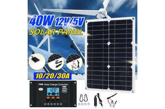 40W 12V USB Solar Panel Battery Charger RV Motorhome Boats Car【Without Solar Charger Controller】(40W Solar Panel Without Controller)