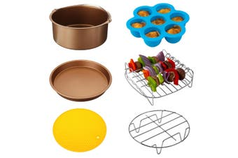 "6Pcs 7"" Air Fryer Accessories Set BBQ Pizza Baking Pan Tray Fit 3.2-6.8QT(gold,7Inch 6IN1 Set)"