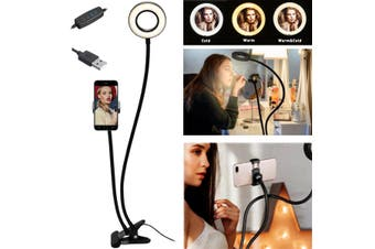 9cm USB LED Fill Ring Light with Adjustable Stand Clip and Phone Holder Bracket Dimmable Led Camera Ringlight for Live Stream/Make Up/for YouTube(with Ring Light and Phone Holder)