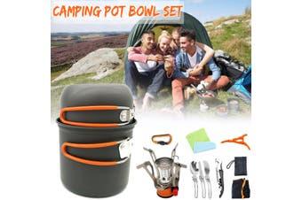 Portable Backpacking Gas Butane Propane Canister Outdoor Camping Stove Burner(orange,Pot Orange Handle)