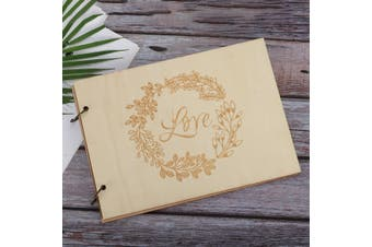 Wedding Guest Book Wooden Engagement Guestbook Album Party Decor 10/20/30/40 Pages(E 40pages)