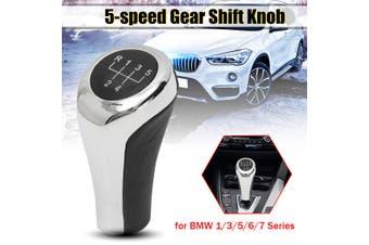 Aluminum + Leather 5 6 Speed Manual Gear Shift Knob Stick Shifter Lever For B-M-W E82 E90 E91 E60 E63 E83 E84 E53(silver,5 Speed)
